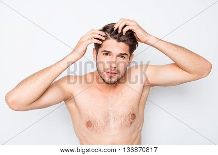 Fit Healthy Young Man Expertising His Hair And Looking For Furfur