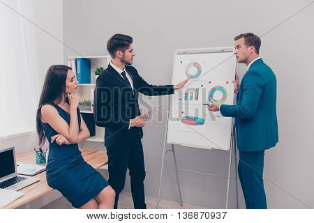 Young Man Showing Diagrama On Flipchart  To His Colleagues
