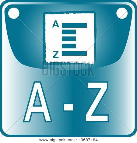 A-Z blue Button dictionary search list find go
