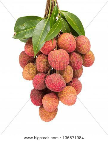 Isolated fresh Lychee with green leaves on white background