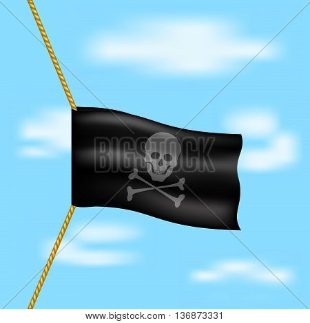Pirate flag with skull symbol hanging on rope in brown design on blue sky