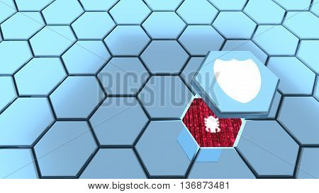 Hexagon grid in blue one piece with shield flying above revealing a computer bug 3D illustration backdoor concept