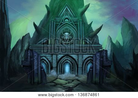 Dark Temple. Video Game's Digital CG Artwork, Concept Illustration, Realistic Cartoon Style Background