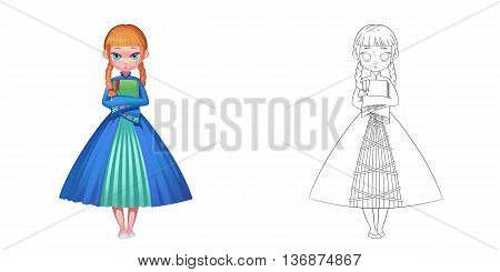 Young Princess Loves Literature. Coloring Book, Outline Sketch, Character Design isolated on White Background