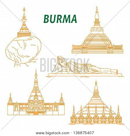 Popular buddhist pilgrimage and tourist sites of Myanmar symbols with Shwezigon Pagoda, Kyaiktiyo Pagoda, Reclining Buddha, Uppatasanti Pagoda and Bagan Temple. Thin line style
