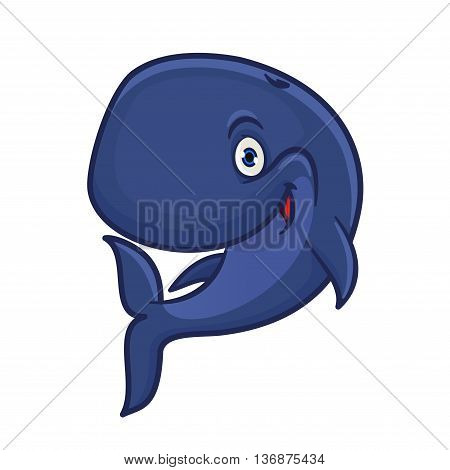 Joyful smiling blue sperm whale cartoon character for sea adventure hero or underwater wildlife mascot design with funny cachalot preparing for deep dive
