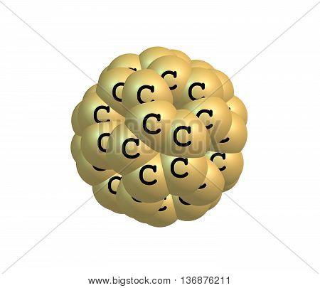 Fullerene molecular model C60 on white background. 3d illustration