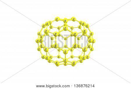 Fullerene molecular model C70 on white background. 3d illustration