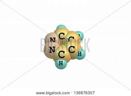Pyridazine is a heterocyclic organic compound with the molecular formula CH4N2. It contains a six-membered ring with two adjacent nitrogen atoms. 3d illustration