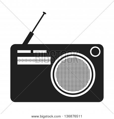black and white old stereo front view over isolated background, vector illustration