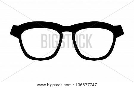 black and white hipster man eyeglasses over isolated background, hipster fashion concept, vector illustration