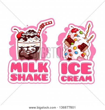 Two stickers with milkshake and ice cream. Logo template in pink colors. Vector cartoon illustration isolated on a white background.