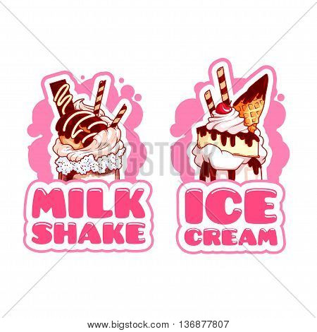 Two stickers with giant milkshakes. Logo template for milkshake and ice cream. Vector cartoon illustration isolated on a white background.