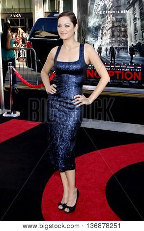 Marion Cotillard at the Los Angeles premiere of 'Inception' held at the Grauman's Chinese Theater in Los Angeles, USA on July 13, 2010.