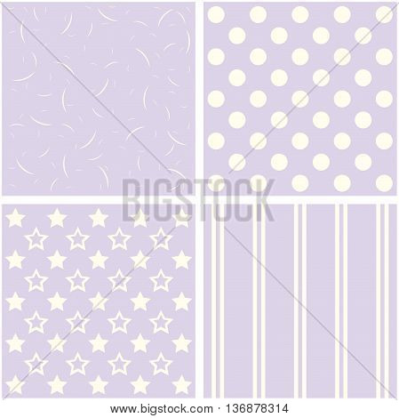 Set of 4 background patterns in pale lilac.