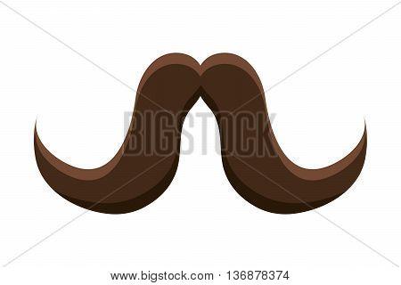 brown vintage man moustache over isolated background, vintage fashion concept, vector illustration