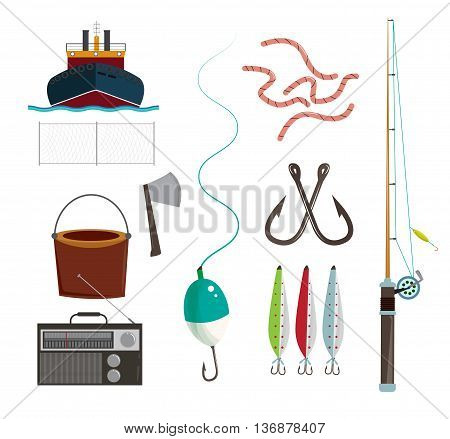 Fishing set Theme elements, Vector flat illustration of hunting fishing gear, traps and weapons, hiking and survival equipment