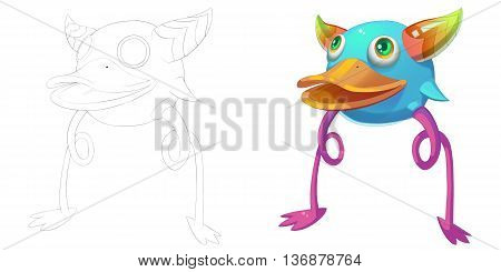Duck Platypus and Horn Creature. Coloring Book, Outline Sketch, Monster Mascot Character Design isolated on White Background