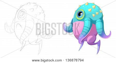 Elephant Octopus and Tentacles Worm Creature. Coloring Book, Outline Sketch, Monster Mascot Character Design isolated on White Background