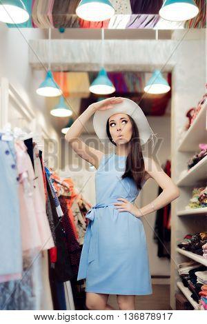 Cute Summer Fashionista Girl in Fashion Store