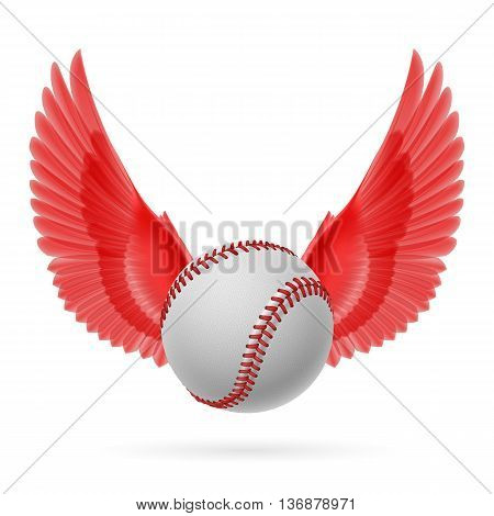 Realistic baseball emblem with red wings on white