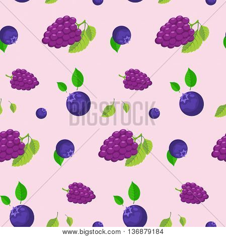 Seamless pattern of bright colored berries. Vector illustration.
