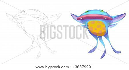 Devil Cat Fish and Marine Bat Creature. Coloring Book, Outline Sketch, Monster Mascot Character Design isolated on White Background