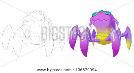 Three Eyes Bird Spider Creature. Coloring Book, Outline Sketch, Monster Mascot Character Design isolated on White Background