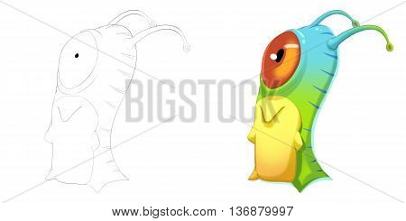 Candy Eye Worm Creature. Coloring Book, Outline Sketch, Monster Mascot Character Design isolated on White Background
