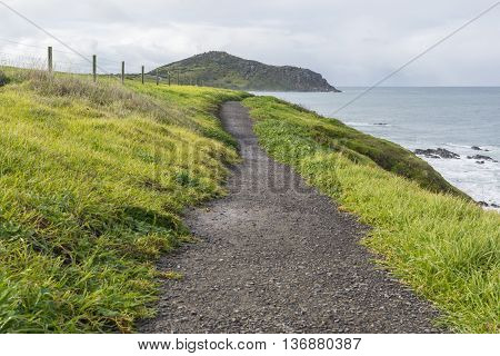 Kings Beach path following the coast toThe Bluff seen in the distance at Victor Harbor South Australia. Part of the Fleurieu Peninsula.