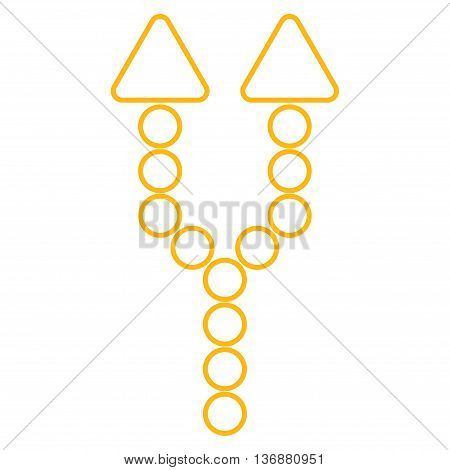 Split Arrow Up vector icon. Style is contour icon symbol, yellow color, white background.