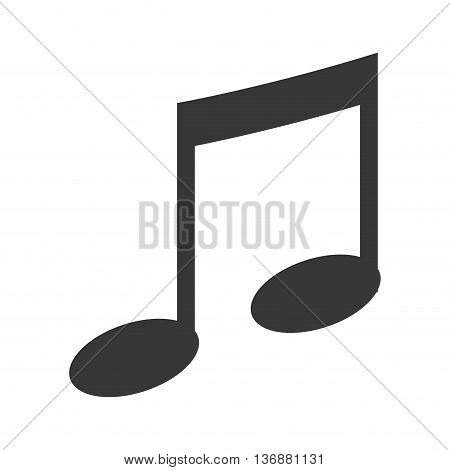 Music or melody note icon in gray and white colors, vector illustration.