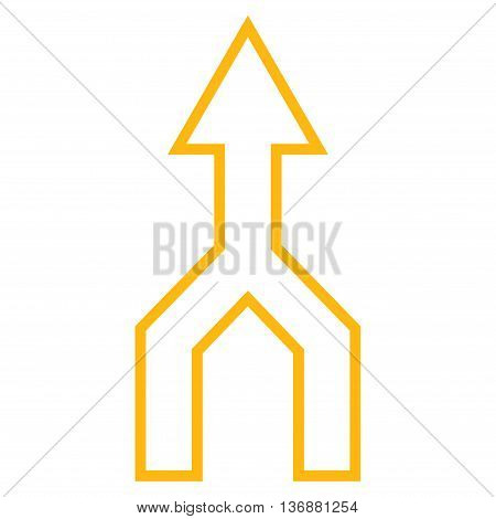 Unite Arrow Up vector icon. Style is stroke icon symbol, yellow color, white background.