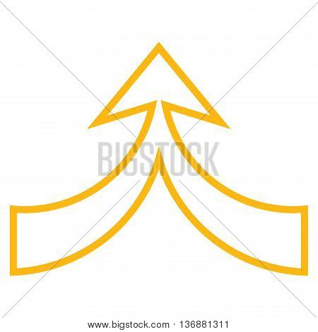 Unite Arrow Up vector icon. Style is contour icon symbol, yellow color, white background.