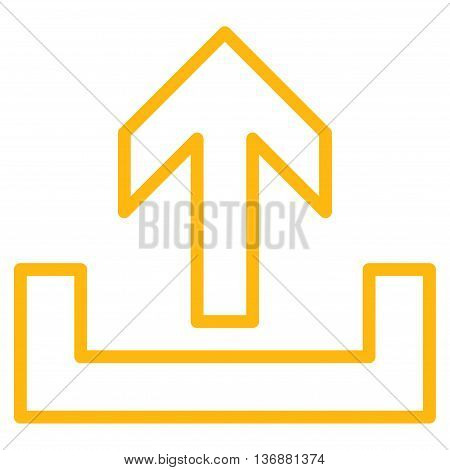 Upload vector icon. Style is outline icon symbol, yellow color, white background.