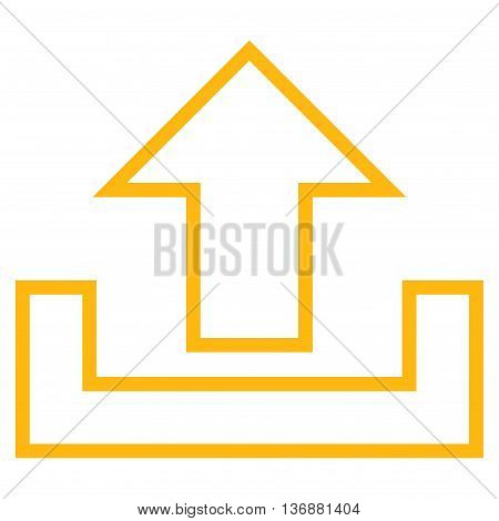 Upload vector icon. Style is contour icon symbol, yellow color, white background.