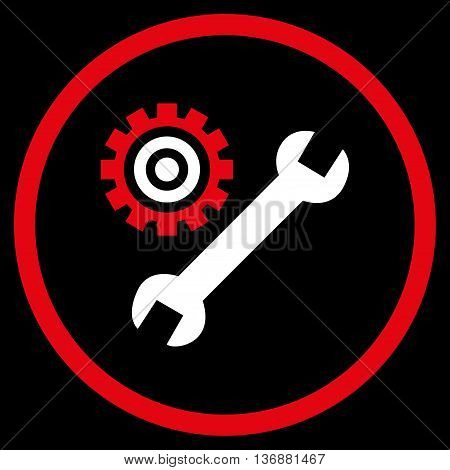 Configuration Tools vector bicolor icon. Image style is a flat icon symbol inside a circle, red and white colors, black background.
