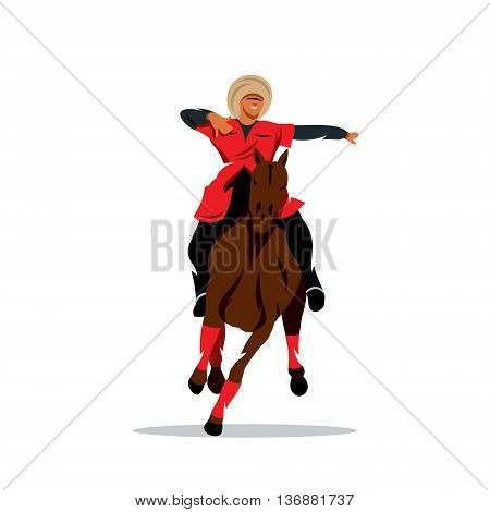 Man in black fur hat and a red dress on a horse waving his arms. Isolated on a White Background