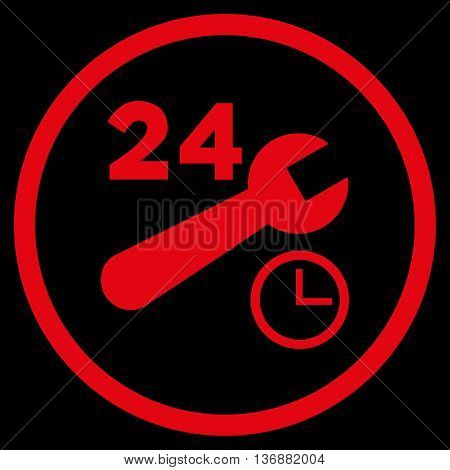 Nonstop Service Hours vector icon. Image style is a flat icon symbol inside a circle, red color, black background.