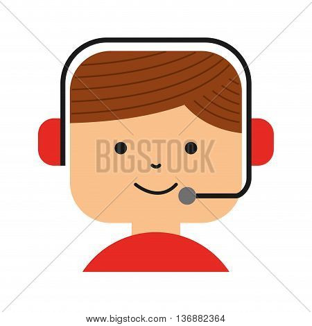 call center employee isolated icon design, vector illustration  graphic