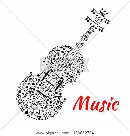 Musical notation symbols and marks arranged into a shape of violin with fingerboard and strings made up of notes, treble and bass clefs. Entertainment or musical events design usage