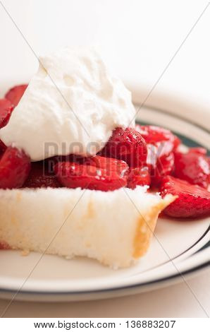 fresh shtrawberry shorcake with sponge cake and local strawberries and whipped cream