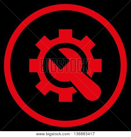Hardware Maintenance vector icon. Image style is a flat icon symbol inside a circle, red color, black background.