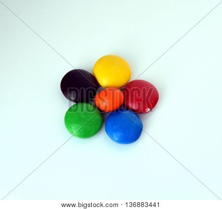 Closeup of the pile of colorful sweet bonbons