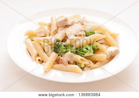 chicken stroganoff with a creay mushroom sauce over penne pasta