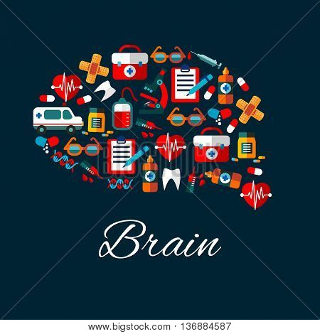 Medication and healthcare symbols create a silhouette of human brain with flat icons of ambulance, hearts and teeth, medicine bottles, syringes and pills, microscope and blood bags, clipboards and DNA, first aid kits and glasses