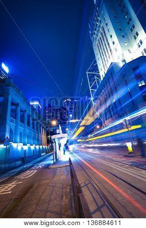 Hong Kong Of City Traffic At  Station Night