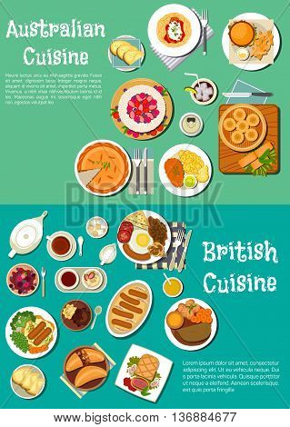 British and australian meat pies icon with full english breakfast and cod roe sandwich, sausages, hamburgers and fries, beef in pastry crust and dumplings, lamb stew and kangaroo steak, pavlova cake, berry fool and tarts with drinks. Flat style