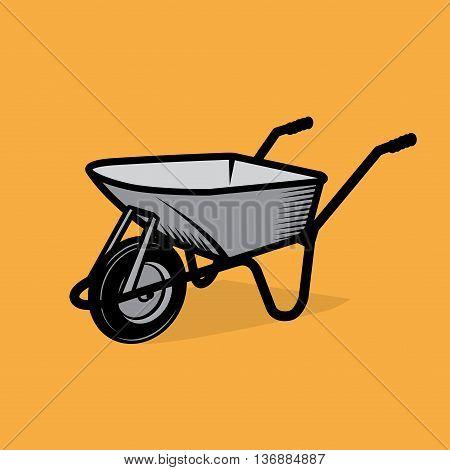 Garden wheelbarrow cart sign or symbol, vector illustration