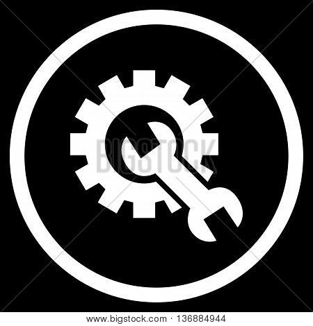 System Setup vector icon. Image style is a flat icon symbol inside a circle, white color, black background.